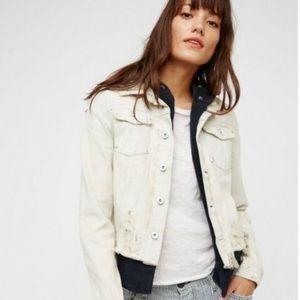 Free People Double Weave Distressed Denim Jacket